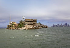 Alcatraz Island with San Francisco skyline in far background Royalty Free Stock Photo