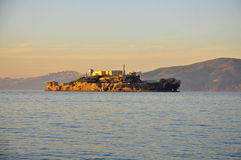 Alcatraz Island at sunset Royalty Free Stock Images