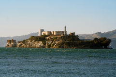 Alcatraz island sunset and mountain Royalty Free Stock Images