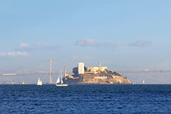 Alcatraz Island viewed from San Francisco Bay, California Royalty Free Stock Images