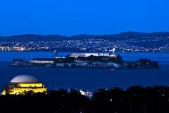 Alcatraz la nuit Photos libres de droits