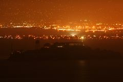 Alcatraz at night. The Alcatraz island and prison seen from the distance in the night Stock Photo