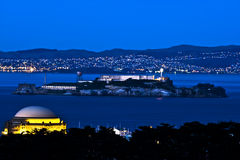 Alcatraz na noite Fotos de Stock Royalty Free