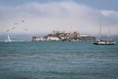 Bay Life and Sailing San Francisco. Alcatraz, is one of the most iconic landmarks in America if not the world, notorious for its grim past and famous jailbreak royalty free stock photo