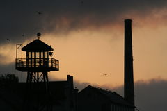 Alcatraz prison. Prison look out tower at night Stock Photo