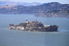 Alcatraz prison fog island Royalty Free Stock Photo