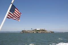 Alcatraz prison island in San Francisco with American Flag, California Royalty Free Stock Photos