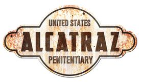 Alcatraz San Francisco Sign. Alcatraz San Francisco Vintage Rustic Sign Rusted Metal Tin Prison Penitentiary Keep Off vector illustration