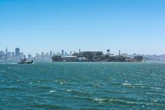 Alcatraz and the skyline of San Francisco. A view from the sea of Alcatraz and the skyline of San Francisco Stock Photo