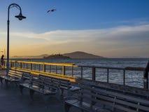 Alcatraz at sunset from San Francisco Fisherman`s Wharf stock photo