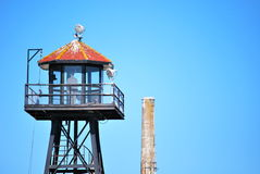 Alcatraz turret and sky. The alcatraz turret used to check the prisoners royalty free stock photography