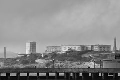 Alcatraz view on cloudy sky in black and white Royalty Free Stock Photos
