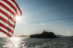 Free Alcatraz View Vith Flag Of America Royalty Free Stock Photo - 60579725