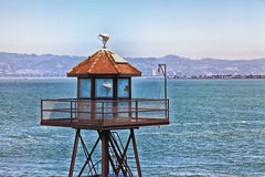 Alcatraz Watch Tower. A view of the Alcatraz prison watch tower overlooking the property stock photo