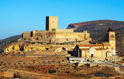 Alcaudete with castle and  church Stock Photography