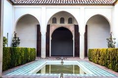 Alcazaba内在庭院 库存图片