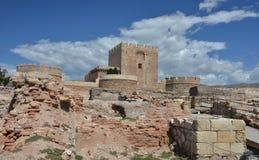 Alcazaba废墟在阿尔梅里雅-西班牙 库存照片