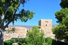 Alcazaba (堡垒)在阿尔梅里雅,安大路西亚 免版税图库摄影