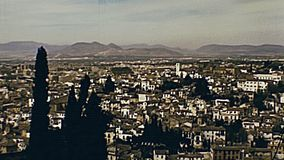 Alcazaba of Alhambra aerial view. Aerial view of panorama from the top of the walls of Alcazaba of the Alhambra of Granada town. Unesco World Heritage Site stock footage