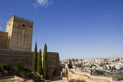 Alcazaba of Alhambra and Granada Stock Images
