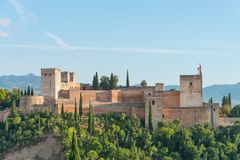 Alcazaba, Alhambra, Granada. View of Alcazaba during sunset, Alhambra, Granada, Andalusia, Spain royalty free stock photo