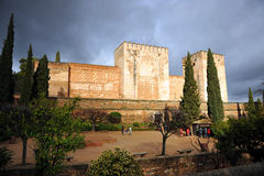 Alcazaba, Alhambra palace in Granada, Spain. Arab architecture, Alcazaba fortress located within the grounds of the Alhambra in Granada, Andalucia, Spain Royalty Free Stock Photos