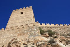 Alcazaba of Almeria. Embattled wall in the Alcazaba of Almeria, medieval moorish fortress dating from the 10th century Royalty Free Stock Photos