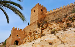 Alcazaba of Almeria, in Almeria, Spain. A view of the walls of the Alcazaba of Almeria, in Almeria, Spain royalty free stock photos