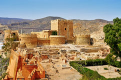 Alcazaba of Almeria, in Almeria, Spain. A view of the walls of the Alcazaba of Almeria, in Almeria, Spain stock photos