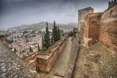 AlCazaba av Alhambra Arkivbilder