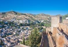 Alcazaba castle in Alhambra. Granada, Spain Royalty Free Stock Photo