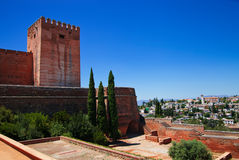 Alcazaba with city view of Granada Royalty Free Stock Photo