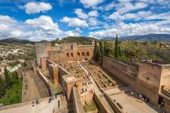 Alcazaba de Granada antenn Arkivfoton