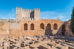Alcazaba, fortress of Alhambra, Granada royalty free stock photography