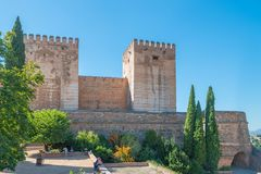 Alcazaba, fortress of Alhambra, Granada royalty free stock photo