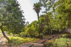 The Alcazaba Gardens. Is a source of La Alcazaba of Almeria Stock Images