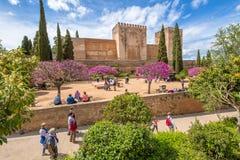 Alcazaba i Alhambra av Granada Arkivbild