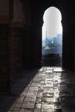 Alcazaba inrearhitecture Arkivfoton