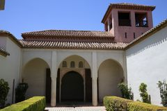 The Alcazaba of Malaga in Andalucia Spain. The Alcazaba of Malaga in Andalucia, south of Spain. It is located on the top of Mount Gibralfaro. It is one of the Royalty Free Stock Images