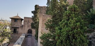 Alcazaba moorish fort in Spanje stock foto's