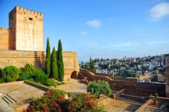 Alcazaba and neighborhood of Albaicin, Alhambra palace in Granada, Spain. Arab architecture, Alcazaba fortress located within the grounds of the Alhambra in Royalty Free Stock Photo