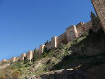 Alcazabaen av Malaga i Andalucia Spanien Fotografering för Bildbyråer