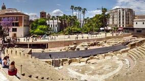 Alcazabaen Roman Theatre Malaga arkivfoto