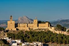 Alcazabakasteel van Antequera in provincie Malaga Andalusia, Spanje royalty-vrije stock foto's
