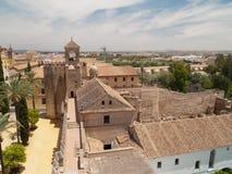 Alcazar av Cordoba från över Arkivfoto