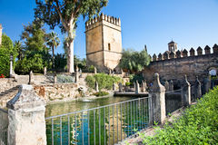 Alcazar with beautiful garden in Cordoba, Spain Royalty Free Stock Photo