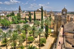 Alcazar and Cathedral Mosque of Cordoba, Spain. View of Alcazar and Cathedral Mosque of Cordoba, Spain. HDR image Royalty Free Stock Photos