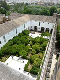 Alcazar de los Reyes Cristianos in Cordoba, Spain. Courtyard gardens at the Alcazar de los Reyes Cristianos in Cordoba, Spain Stock Photo