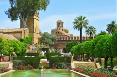 Alcazar de los Reyes Cristianos in Cordoba, Spain. CORDOBA, SPAIN - MAY 16: Gardens of Alcazar de los Reyes Cristianos on May 16, 2012 in Cordoba, Spain. Alcazar Royalty Free Stock Photos