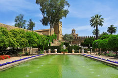 Alcazar de los Reyes Cristianos in Cordoba, Spain. Gardens of Alcazar de los Reyes Cristianos in Cordoba, Spain Royalty Free Stock Photography
